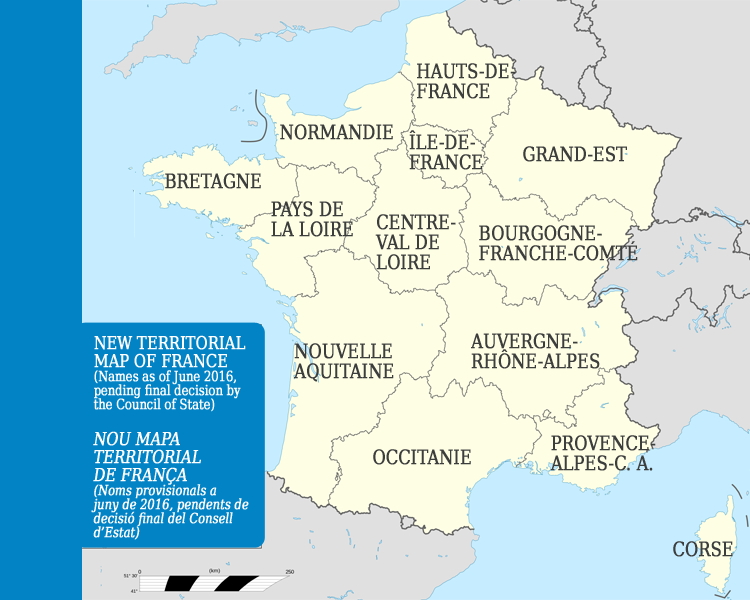 Map Of France With States.Occitania And Nouvelle Aquitaine Complete The List Of Names Of