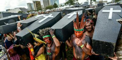 Indigenous activists protest in Brasilia.