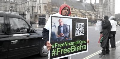 Protester in London demands freedom for Nnamdi Kanu, 2016.