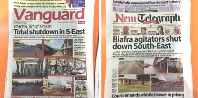 Nigerian newspapers report Biafran strike.