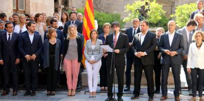 Puigdemont reads statement on date, question.