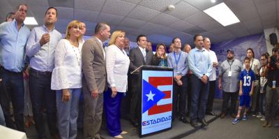Ricardo Rosselló and his pro-statehood campaign team, 11 June.