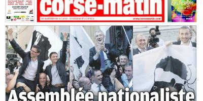 'Corse Matin' front cover features Pè a Corsica winning candidates