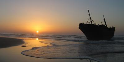 Shipwreck along the Western Sahara coast.