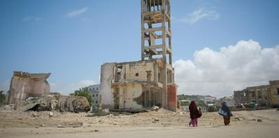 Destroyed building in Mogadishu, capital of Somalia.