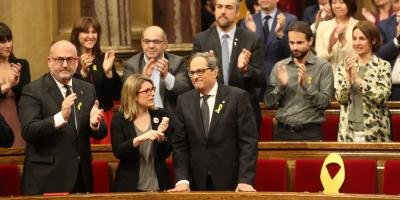 Quim Torra at the Catalan Parliament just after the vote.