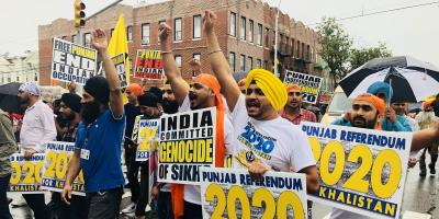 A demonstration of pro-independence sikhs in the North American diaspora in 2018.