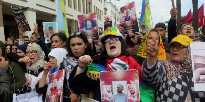 An Amazigh protest in Rabat, 2019, to demand the release from jail of prisoners of the Rif movement.