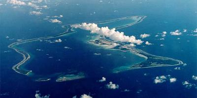 Diego Garcia atoll, where the military base is located.
