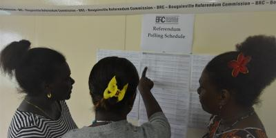 Voters check their inscription to the referendum election roll.