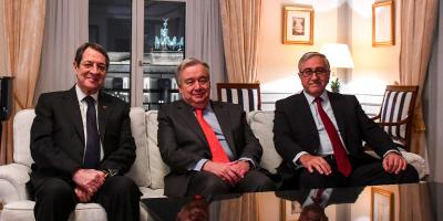 From left to right: Anastasiades, Guterres and Akinci, in this week's meeting.
