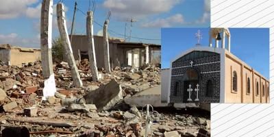Mar Gewargis Church in Tel Baz village, Khabour, before and after its destruction.