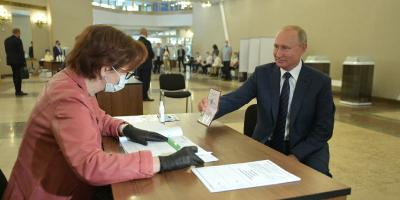 Putin in constitutional amendment vote.