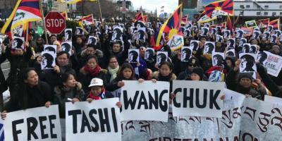 Tibetan exiles demonstrate for the freedom of language activist Taashi Wangchuk.